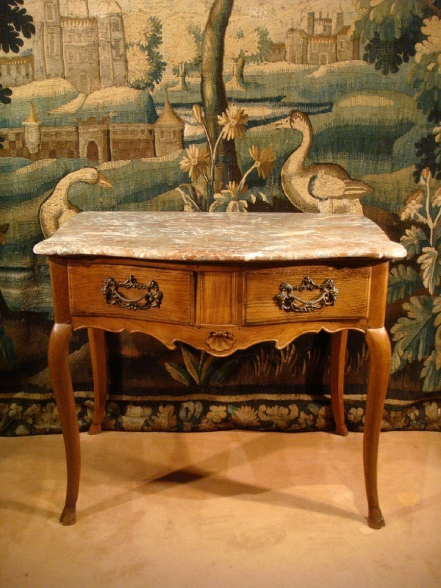 Table Console Galbe En Bois Naturel Poque XVIIIe Sicle