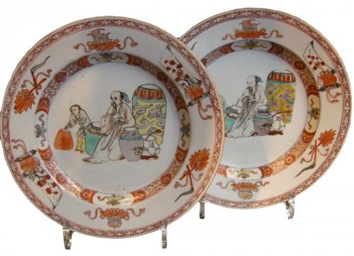 assiettes en porcelaine de la famille verte chine 1715 1720