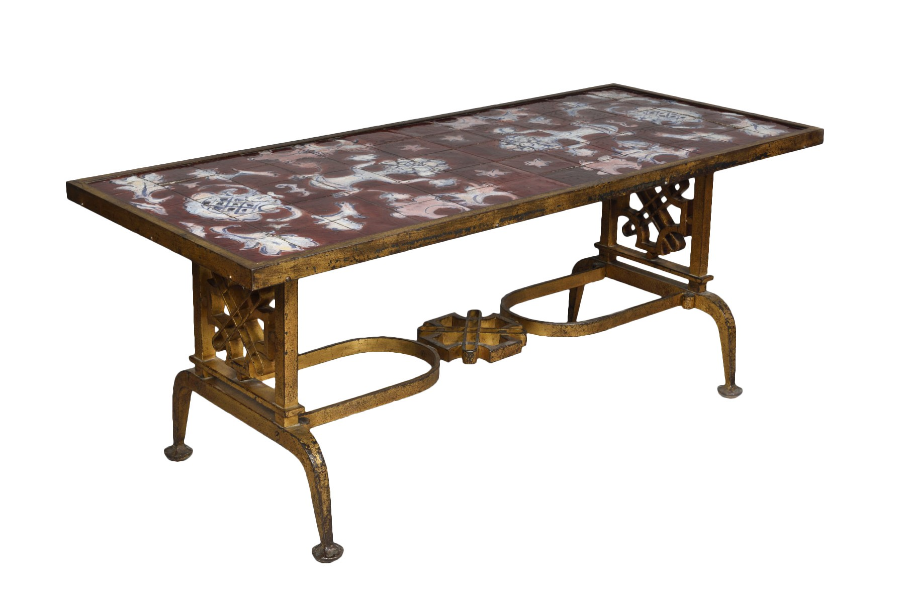 cast iron and ceramic coffee table gilbert poillerat 1902 1988