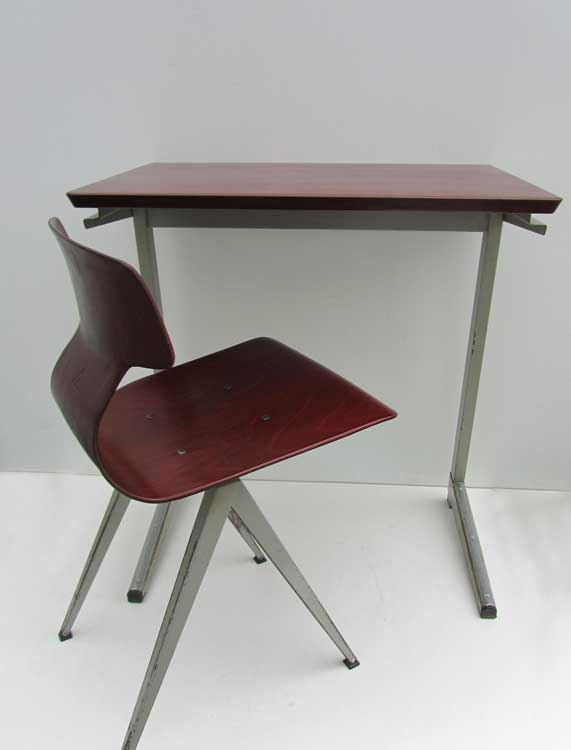 Industriel Galvanitas plywood bureau  desk with chair from Friso     galvanitas plywood bureau stoel wim rietveld friso kramer