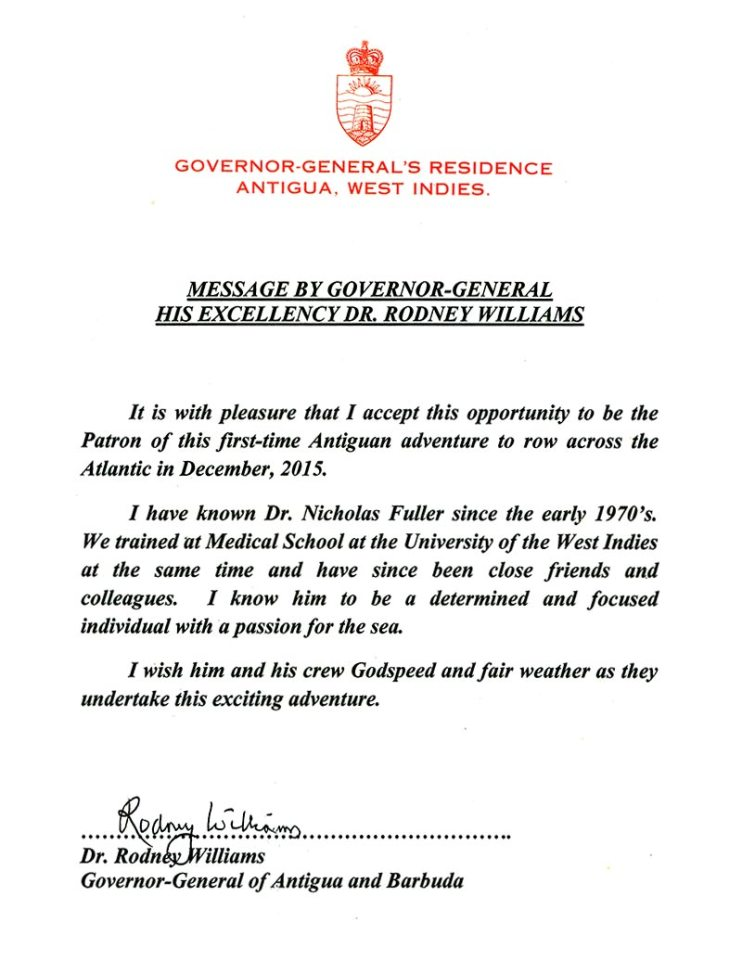 Message from Governor-General His Excellency Dr. Rodney Williams