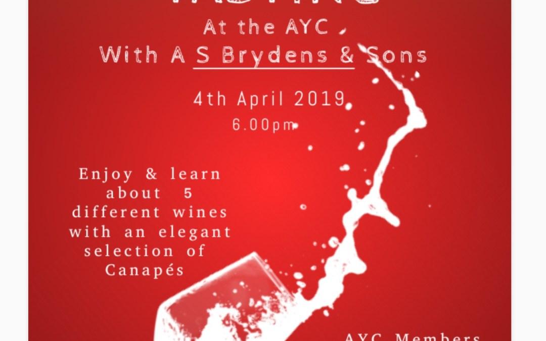 Wine Tasting on 4th April 6PM