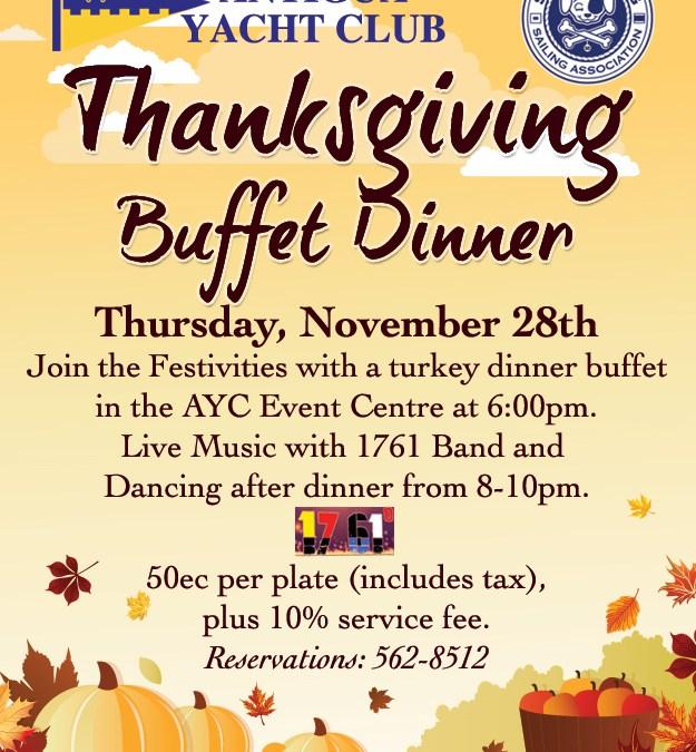 Thanksgiving Buffet Dinner at Club House Restaurant