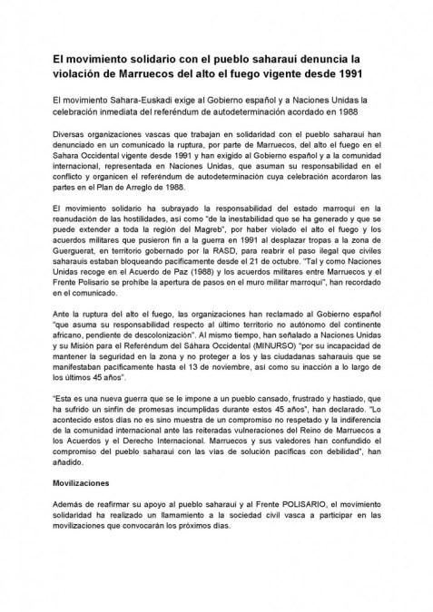 COMUNICADO Movimiento Sahara Euskadi