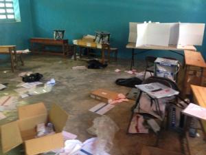 A ransacked polling centre in Cité Soleil