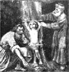 Infant Martyr - a depiction of ritual murder of a baby by Jews in Trent, Italy, 1475