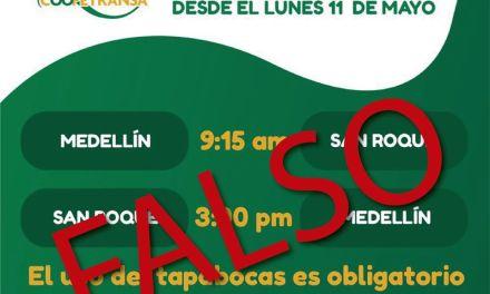 San Roque aclara información falsa sobre nuevos horarios de transporte Intermunicipal