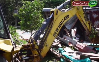 Fue demolida una vivienda que era utilizada para el expendio de estupefacientes en San Carlos