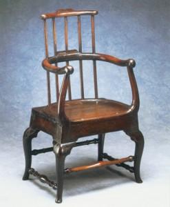 Unusual antique furniture. Oak armchair.