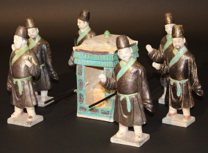 Ming dynasty earthenware models of funerary sedan bearers