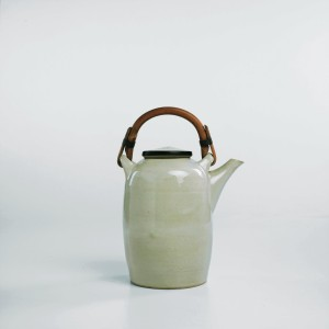 Lucie Rie Glazed stoneware teapot with bamboo handl
