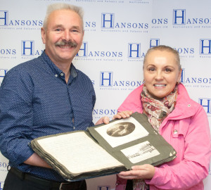 Adrian Stevenson with scrapbook buyer Yvonne Clay