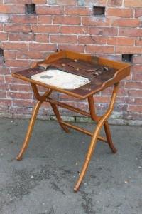 Edwardian oak folding campaign desk
