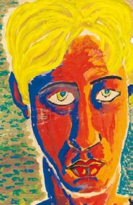 Laurie Lee (1914 - 1997) Self Portrait, Large Goache Loan Exhibition 2016 ©Jessy Lee