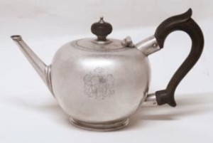 George I Bullet Teapot by Humphrey Payne, London 1726 with original Coat of Arms.