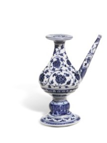 Rare Blue and White Ritual Holy Water Vessel from Pilkington Collection