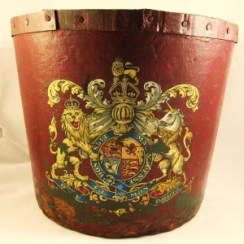 C19th leather fire bucket with a crest