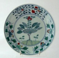 A Kangxi Doucai plate, c1710, £6,500 from Catherine Hunt Oriental Antiques