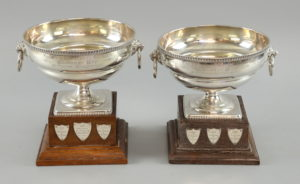 Two silver trophies