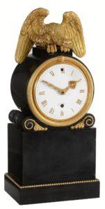 Black marble library mantel clock