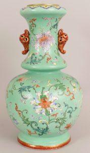 Chinese lime green ground famille rose porcelain vase