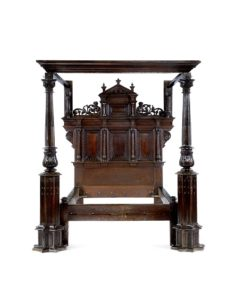 An outstanding and sophisticated Elizabeth I joined oak bedstead, Cumbria, dated 1570