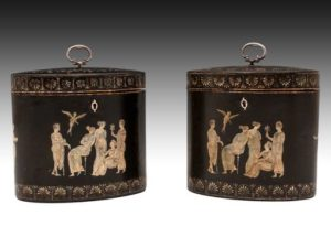 Pair of George III papier mache oval tea caddies