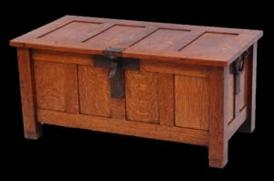 oak four-panel coffer, probably by Liberty & Co