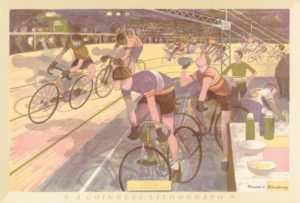 Ronald Glendening, Cycle Racing, 1956, colour lithograph, © The Estate of the Artist