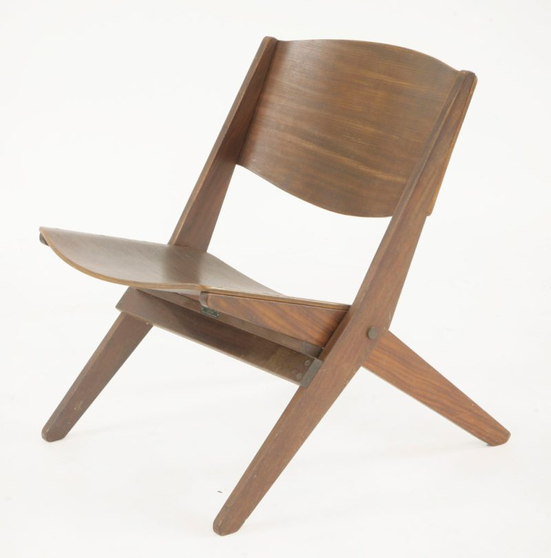 A 'Cormorant' folding chair. Designed by Ernest Race in 1959 and manufactured by Ernest Race Ltd