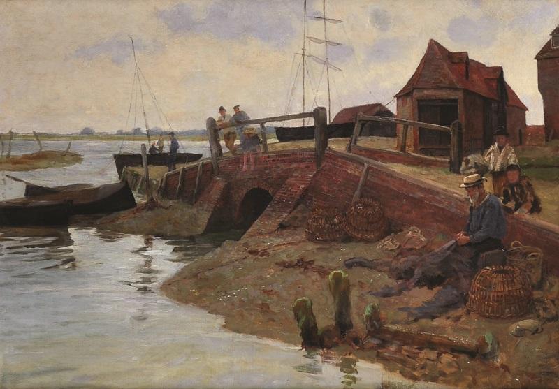 """Percy Robert Craft (1856-1934) British. """"Old Bosham"""""""