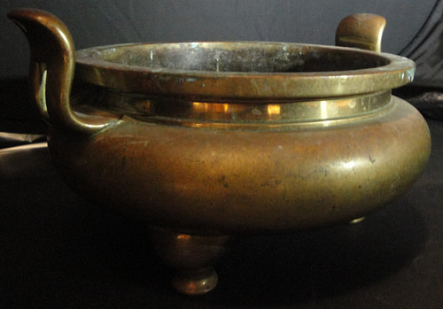 A 19th century Chinese brass censer