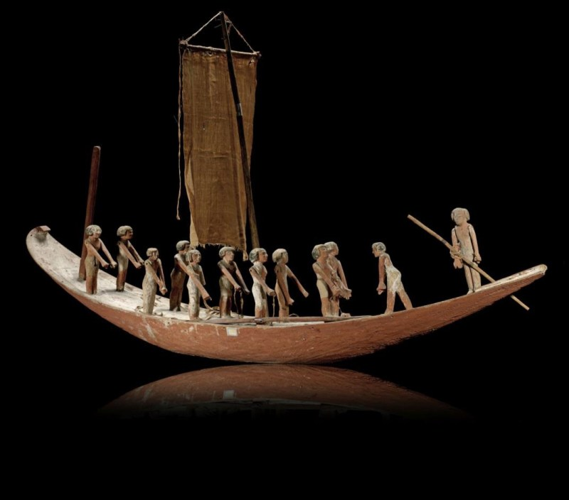 large wooden model boat from the Egyptian Middle Period 2123-1797 B.C