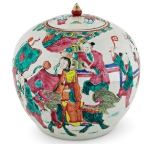 A late 19th-century Chinese famille verte rose ginger jar