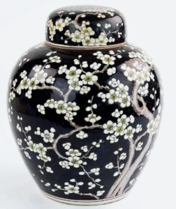 A Chinese black ground ginger jar and cover, 19th century