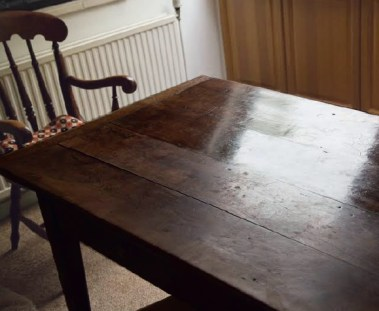 An polished oak top table