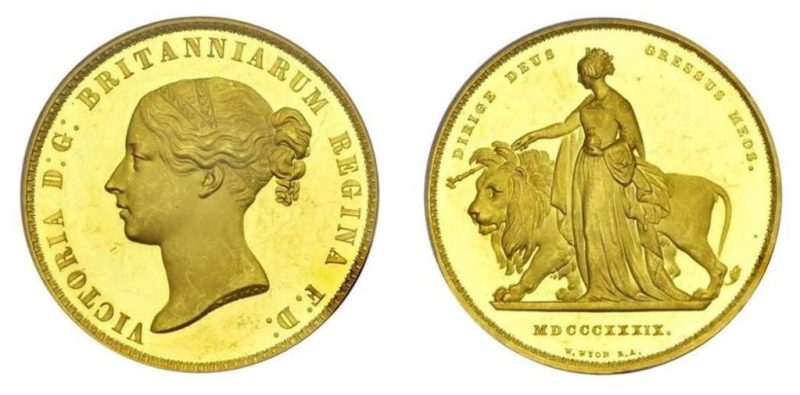 gold British 'Una and the Lion' Proof Five Pounds