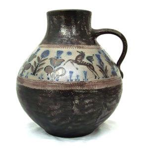 A fine German salt-glaze floor vase decorated in scraffito by Wim Mühlendyck