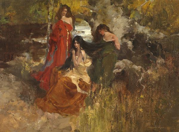 'Isoult la Desirous and the Forest Maidens' by Sir William Russell Flint RA,