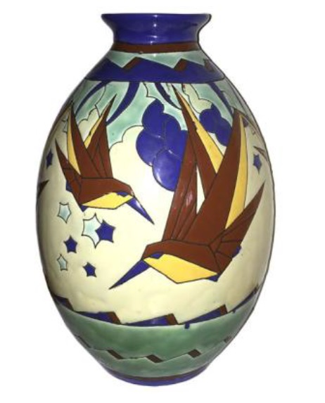 Art Deco Kingfisher pottery vase by Charles Catteau for Boch