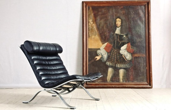 Mid-century chair and classic oil painting
