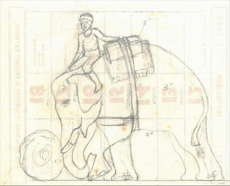 Drawings for Elephant group oak carvings by Stan 'Woodpecker' Dodds