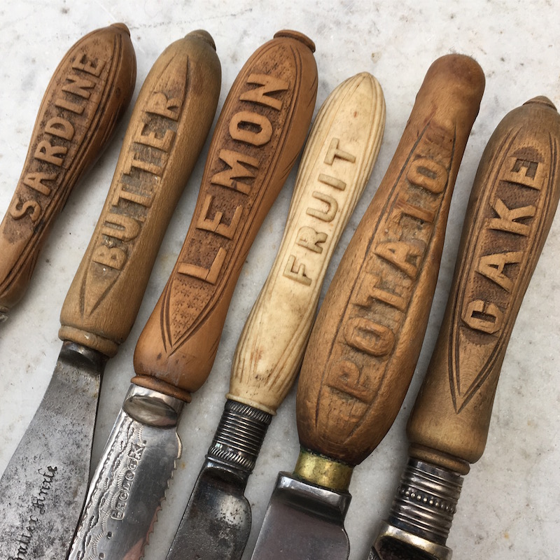 antique carved handle knives