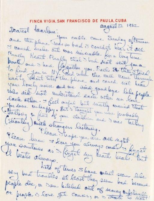 Ernest Hemingway letter to Marlene Dietrich