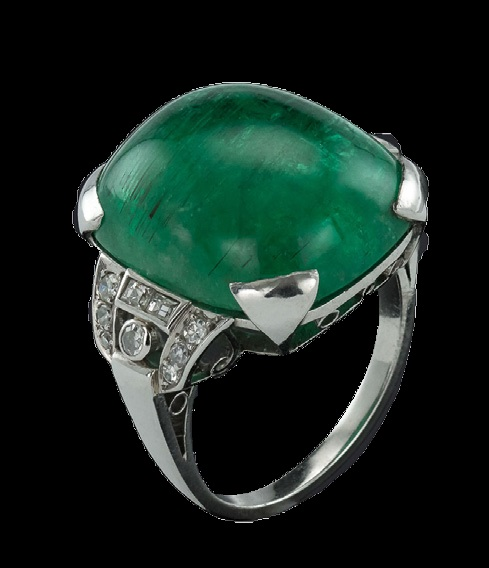 A 20 Carat Cabochan emerald ring set in platinum and diamonds. French made, circa 1930, POA, exhibited by A.G Antiques