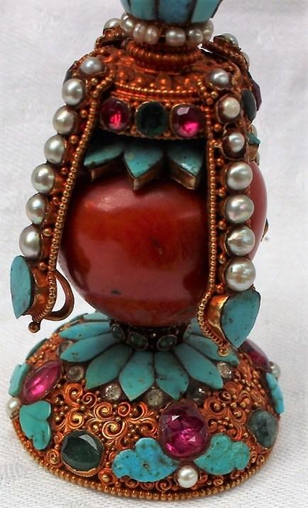 An antique Tibetan hat finial