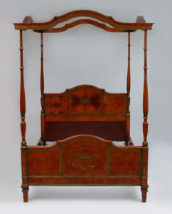 Edwardian painted satinwood four poster bed