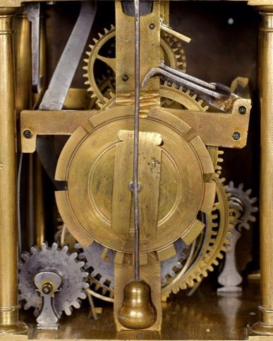 Inner workings of antique clock