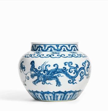 Chinese old porcelain writing-brush washer, with blue porcelain Frog