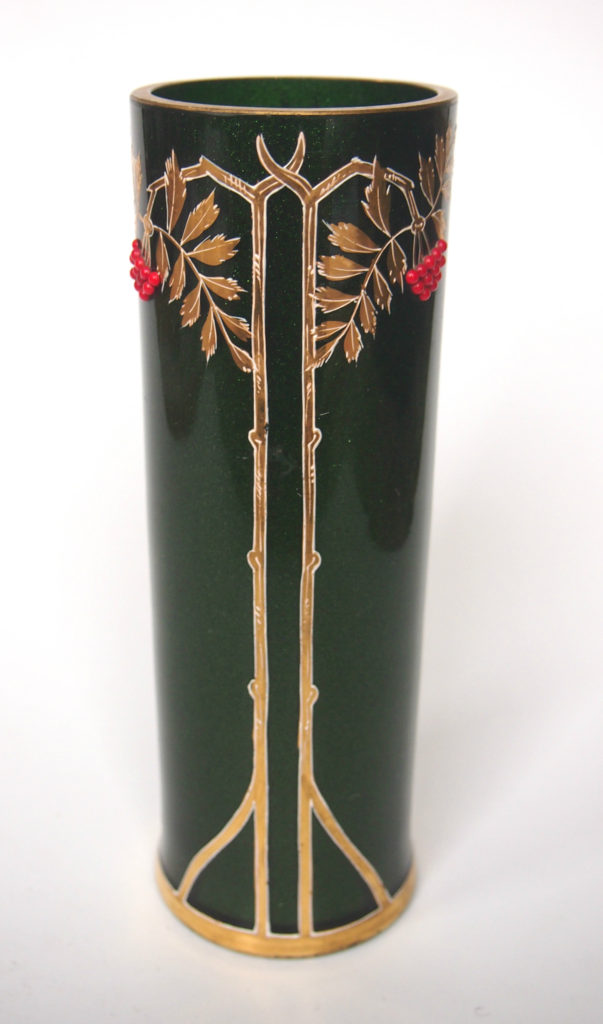 M&DMoir Stunning, c8 inch tall, Riedel -gilded green vase with applied red berries-all present and perfect- c1898. . Price £625